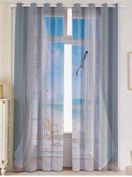 2Pcs Blackout Faux Window Seagull Pattern Window Curtains -