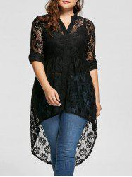 High Low Lace Long Sleeve Plus Size Top - BLACK