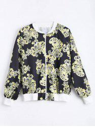 Plus Size Printed Zip Up Bomber Jacket -
