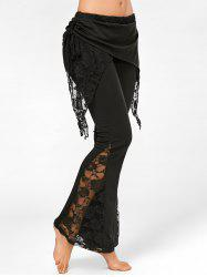 Lace Panel High Waisted Boot Cut Pants