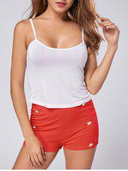 Stylish Spaghetti Strap Solid Color Blouse + High-Waisted Shorts Women's Twinset