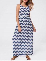 Fashionable Scoop Neck Ripple Print Sleeveless Women's Maxi Dress