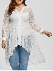 Long Sleeve Lace High Low Plus Size Blouse
