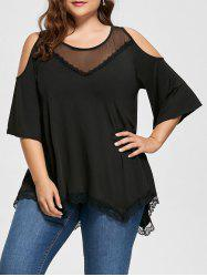 Mesh Trim Cold Shoulder Plus Size Tunic Top