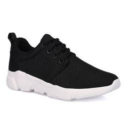 Eyelets Breathable Mesh Athletic Shoes - BLACK
