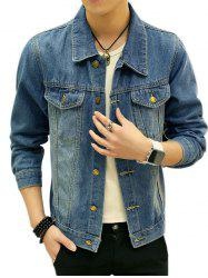 Button Up Chest Pocket Jean Jacket - DENIM BLUE