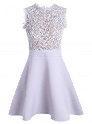 A Line Lace Insert Back Zip Dress