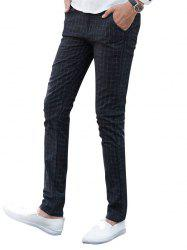 Zipper Fly Checked Chino Pants - BLACK 38