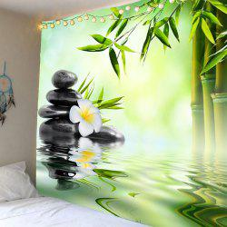 Home Decor Bamboo Pond Hanging Wall Tapestry - Vert