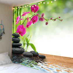 Stones Flowers Bamboo Pond Wall Tapestry