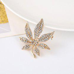 Sparkly Alloy Rhinestone Maple Leaf Brooch - GOLDEN