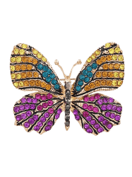 Sparkly Rhinestone Butterfly Brooch - PURPLE