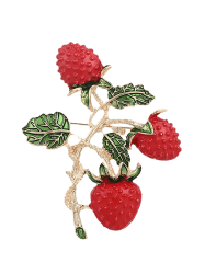 Strawberry Fruit Leaf Brooch - RED