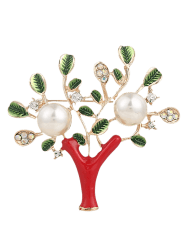 Artificial Pearl Rhinestone Tree of Life Brooch