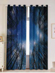 Forest Starry Sky Printed 2Pcs Lightproof Window Curtains -
