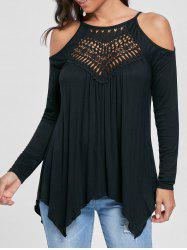 Open Shoulder Handkerchief Top - BLACK