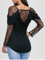 Sheer Lace Yoke Cowl Back Top - BLACK