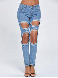 Ripped Cut Out Boyfriend Jeans - BLUE