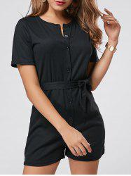 Button Down Knitted Romper - BLACK S