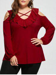 Plus Size Criss Cross Open Shoulder Top -