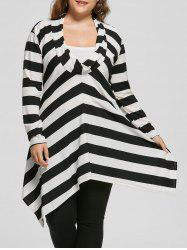 Plus Size Cowl Neck Long Sleeve Striped Top