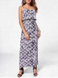Maxi Polka Dot Slip Dress - GRAY 2XL