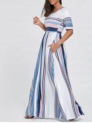Color Block Striped Half Sleeve Maxi Dress - BLUE