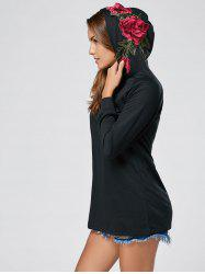 Floral Embroidered Hoodie - BLACK S