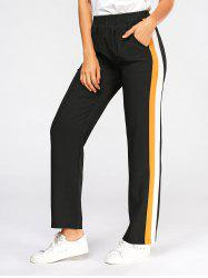 Three Tones Elastic High Wasit Casual Pants