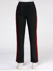 Color Trim Elastic High Waist Casual Pants - Noir S