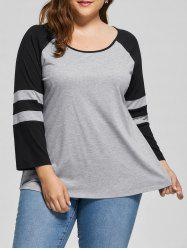 Plus Size Raglan Sleeve Jersey Top