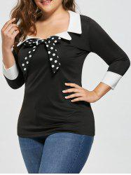 Plus Size Bow Tie Two Tone Longline Blouse - BLACK