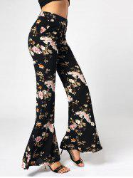 Floral Print High Waist Flared Pants