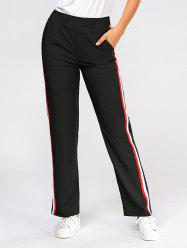 Side Color Block Elastic High Waist Pants - BLACK