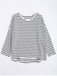 Drop Shoulder Plus Size Stripe Sweatshirt - WHITE