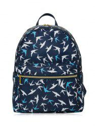 Color Block Polyester Backpack - DEEP BLUE