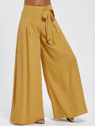 Drawstring High Waisted Wide Leg Pants - EARTHY