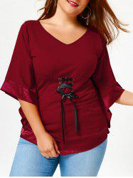 Plus Size V Neck Empire Waist Blouse