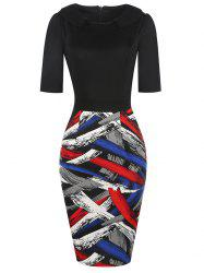 Formal Color Block Work Bodycon Dress