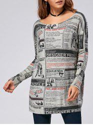 Pullover Letters Newspaper Drop Shoulder Ribbed Sweater