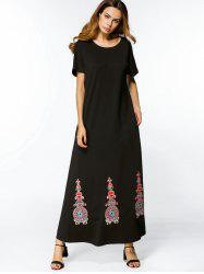 Embroidered A Line Maxi Dress -