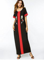 Floral Embroidered Two Tone Maxi Dress -