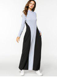 Two Tone Long Sleeve A Line Maxi Dress -