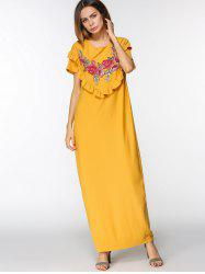 Floral Embroidered Patches Ruffles Maxi Dress -