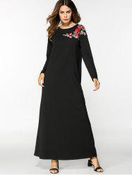 Floral Embroidered Long Sleeve Maxi Dress -