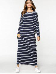 Stripes Long Sleeve Casual Maxi Dress - STRIPE XL