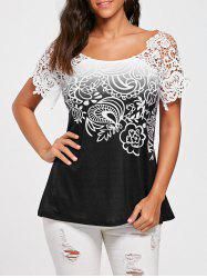 Floral Lace Trim Cutwork T-shirt -