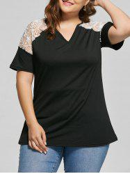 Lace Trim V Neck Plus Size Tunic Top -