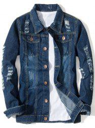 Distressed Button Up Pocket Denim Jacket -