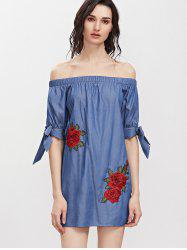 Off Shoulder Floral Embroidered A Line Dress -